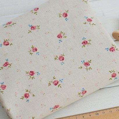 ผ้า cotton linen ลายดอก little rose ขนาด 1/4 เมตร (50*70 ซม.)