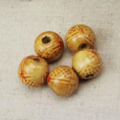 ลูกปัดไม้ ขนาด 11 x 12 mm. ราคา/set  10 เม็ด