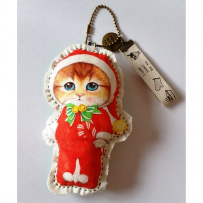 พวงกุญแจตุ๊กตาแมว พร้อมสายโซ่ สูงขนาด 13 cm.