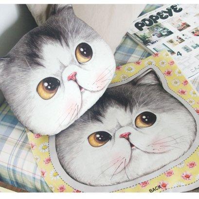 ผ้าฝ้ายผสมลินินเกาหลี หัวแมวเหมียว ตาเหลือง ขนาด 90 x 45 cm.