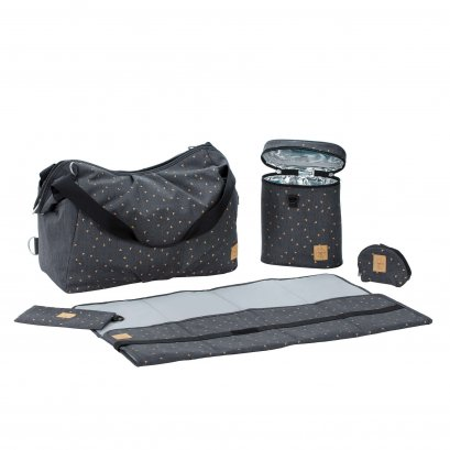 Casual Twin Diaper Bag, Triangle Dark Grey