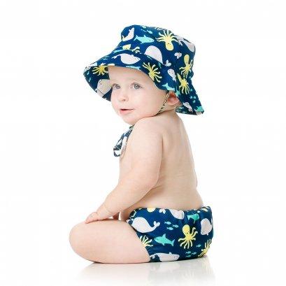 Bumkins ชุดกางเกงผ้าอ้อมว่ายน้ำและหมวก ลาย Deep Sea