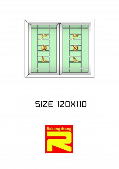 หน้าต่างบานเลื่อน 2 ช่องมีเหล็กดัด