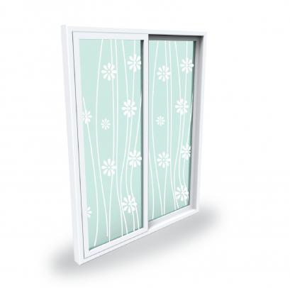 บานประตู Upvc กระจกพ่นลายทราย 160x205
