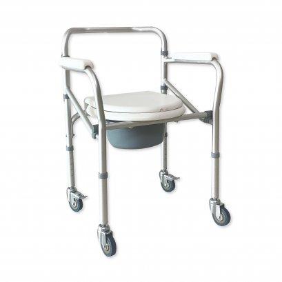 เก้าอี้นั่งถ่าย อลูมิเนียม พับได้ มีล้อ ปรับระดับความสูงได้