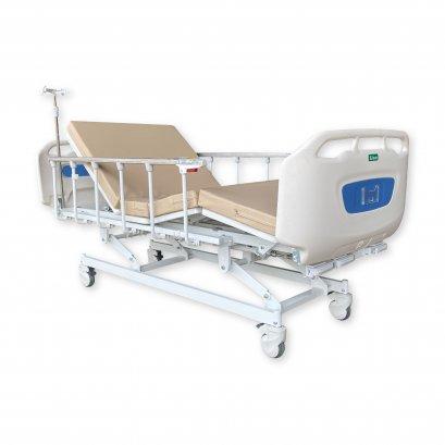 เตียงผู้ป่วยมือหมุน 3 ไกร์ ราวสไลด์ พร้อมที่นอน 4 ตอน เสาน้ำเกลือ