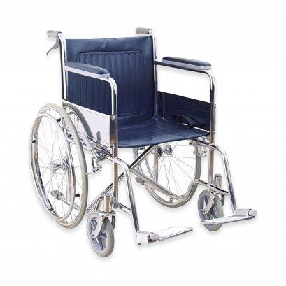 รถเข็นผู้ป่วย วีลแชร์ (Wheelchair) เหล็กชุบโครเมี่ยม ล้อซี่ลวดยางตัน