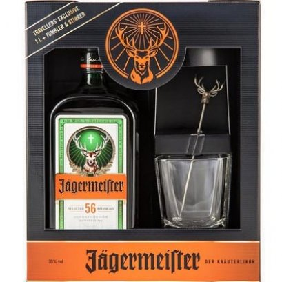 Jagermeister Travellers' Exclusive 1L+Tumbler & Stirrer Set