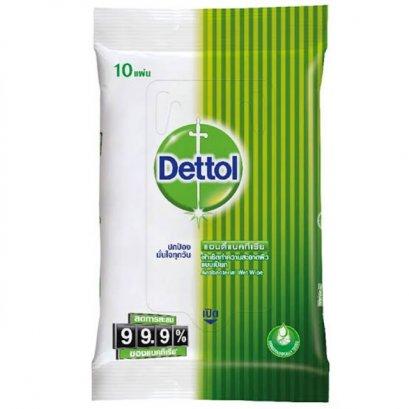 Dettol ผ้าเช็ดทำความสะอาดผิวแบบเปียก แอนตี้แบคทีเรีย (10 แผ่น)