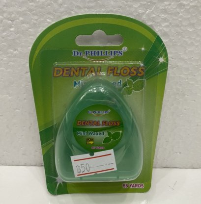 Dr. Phillips dental floss Polyester mint waxe