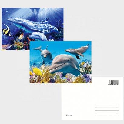 2019 New Custom design 3D PET Gift Card Printing 3D Lenticular Souvenir Postcard of sea animals