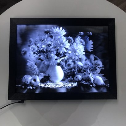 2019 new product lenticular black and white picture in LED frame for home decor