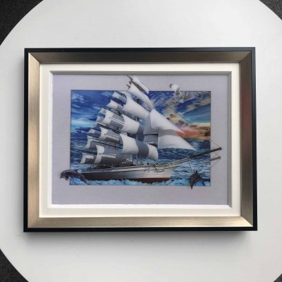 China Factory In stock boat pattern 5D raster picture, 5D wall art picture