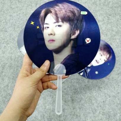 Custom Korea celebrity lenticular fan / 3d hand fan with idol picture for fans