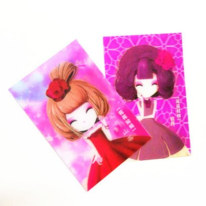 Small lenticular card with 3d effect / small cute girl card