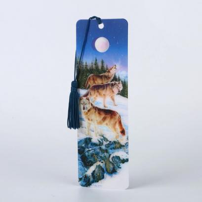 Wholesale Lenticular Promotional Plastic PET 3D Bookmark of wolf