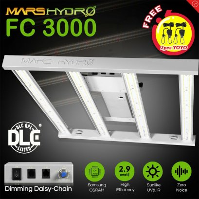 New Designed 2020 Mars Hydro FC 3000 Led Grow Light Full Spectrum Samsung LM301B Osram Diodes Meanwell Driver Hydroponic Commercial Greenhouse Grow 3x3ft 300W