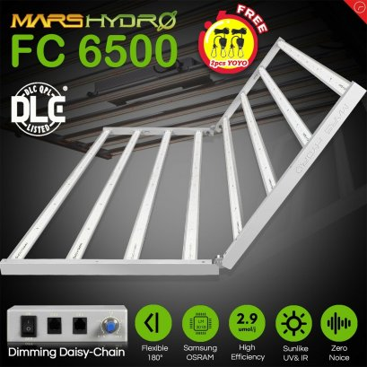 New Designed 2020 Mars Hydro FC 6500 Led Grow Light Full Spectrum Samsung LM301B Osram Diodes Meanwell Driver Hydroponic Commercial Greenhouse Grow 5x5ft, 650W
