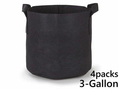 แพ็ค 4! ถุงปลูกต้นไม้แบบผ้า ขนาด 3แกลลอน สูง 20ซม Smart Grow Bag 3-Gallon - Fabric Pot