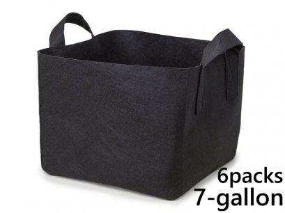 แพ็ค 6! ถุงปลูกต้นไม้แบบผ้า ขนาด 7แกลลอน ทรงสี่เหลี่ยม สูง 30ซม Smart Grow Bag 7-Gallon - Fabric Pot Square Shaped