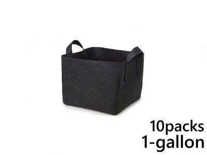 แพ็ค 10! ถุงปลูกต้นไม้แบบผ้า ขนาด 1แกลลอน ทรงสี่เหลี่ยม สูง 15ซม Smart Grow Bag 1-Gallon - Fabric Pot Square Shaped