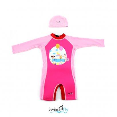 ชุดว่ายน้ำรักษาอุณหภูมิ แบบแขนยาว+หมวกว่ายน้ำ รุ่น Spirit, Bus