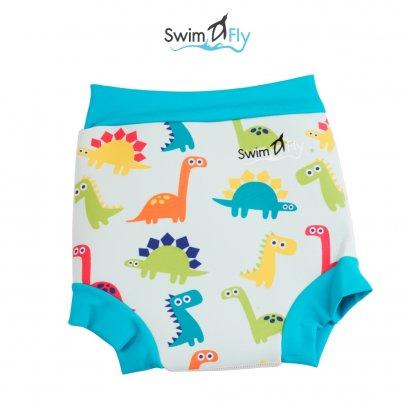 กางเกงว่ายน้ำกันของเหลงรั่วซึม ลายไดโนเสาร์ (เขียว)