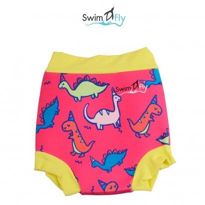 กางเกงว่ายน้ำกันของเหลงรั่วซึม ลายไดโนเสาร์ (ชมพู)