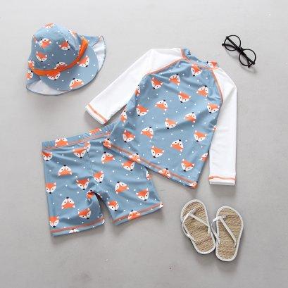 ชุดว่ายน้ำกันยูวี แขนยาว + กางเกง + หมวกบังแดด