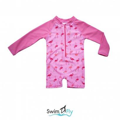 ชุดว่ายน้ำกันยูวี SwimFly แบบบอดี้สูทแขนยาว ลายฟามิงโก้