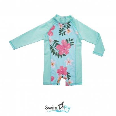 ชุดว่ายน้ำกันยูวี SwimFly บอดี้สูทแขนยาว ลายดอกไม้