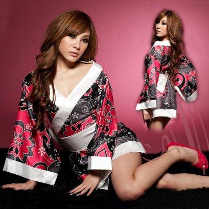 เสื้อคลุมกิโมโนลายกราฟฟิก มีผ้าผูกเอวแต่งโบว์ด้านหลัง +จีสจริง ฟรีไซต์