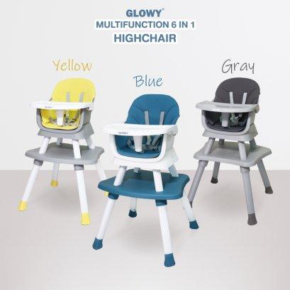 เก้าอี้ทานข้าวอเนกประสงค์ GLOWY รุ่น Multifunction 6 in 1 High Chair