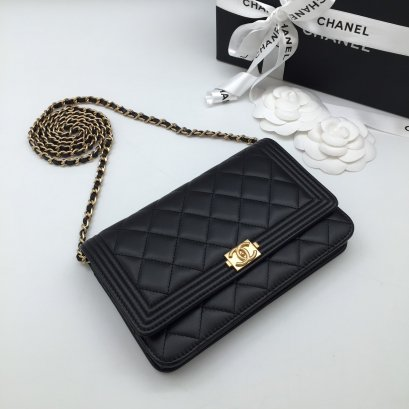 CHANEL WALLET ON CHAIN LAMB BLACK GHW