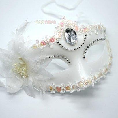 หน้ากากแฟนซี รุ่นประดับขนนกและเพชร - White Diamond