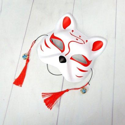 หน้ากากแมวญี่ปุ่นสีขาว เพ้นส์ลายญี่ปุ่น