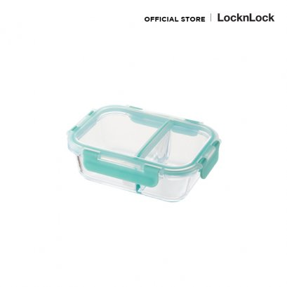 GLASS FOOD CONTAINER กล่องใส่อาหารแบ่ง 2 ช่อง LLG456