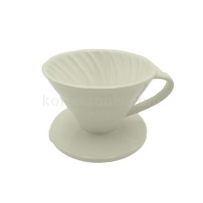 กรวยดริปกรองกาแฟเซรามิกสีขาว (1-2 cup)