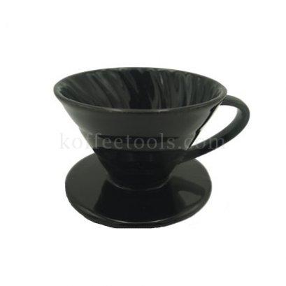 กรวยสำหรับดริปกรองกาแฟเซรามิกสีดำ (1-2 cup)