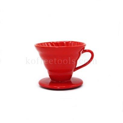 กรวยดริปกรองกาแฟเซรามิกสีแดง (1-2 cup)