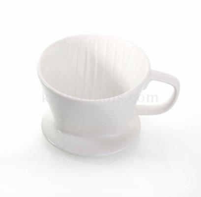 ดริปเปอร์เซรามิคสีขาว ทรงกรวยตัด ( 1-2 cup) Grade B