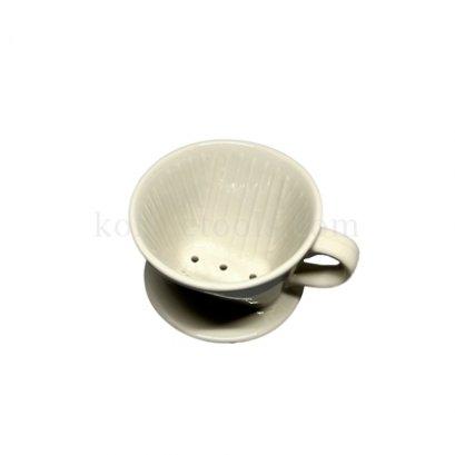 ดริปเปอร์เซรามิคสีขาวครีม ทรงกรวยตัด ( 1-2 cup)