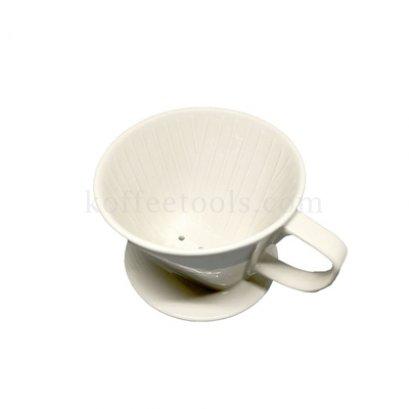 ดริปเปอร์เซรามิคสีขาวครีม ทรงกรวยตัด ( 2-4 cups)