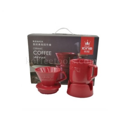 Dripper coffee set สีแดง (1-2 cup)