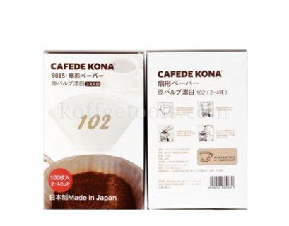 กระดาษกรองกาแฟดริปกรวยตัด สีขาว 102 cafede kona