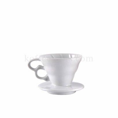 กรวยดริปกรองกาแฟสีขาว 2 หูจับ (1-2 cup) Grade B