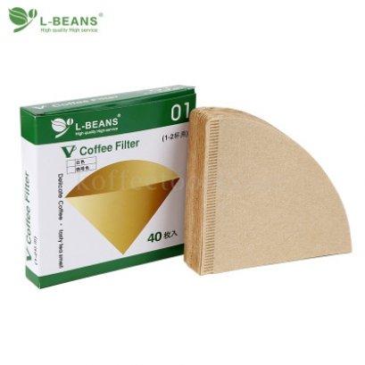 กระดาษกรองดริปทรงกรวย 01 (1-2 cup) ยี่ห้อ L-beans