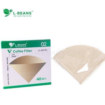 กระดาษกรองดริปทรงกรวย 02 (1-4 cup) ยี่ห้อ L-beans
