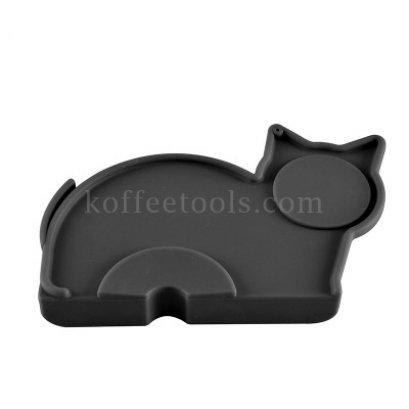 แผ่นยางซิลิโคนรองแทมเปอร์รูปแมวสีดำ