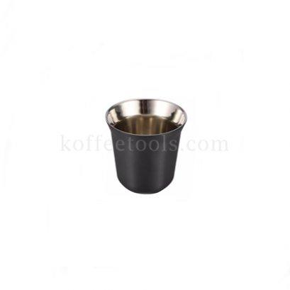 ถ้วยกาแฟเอสเพรสโซ่สแตนเลส 2 ชั้น (80 ml) สีดำ